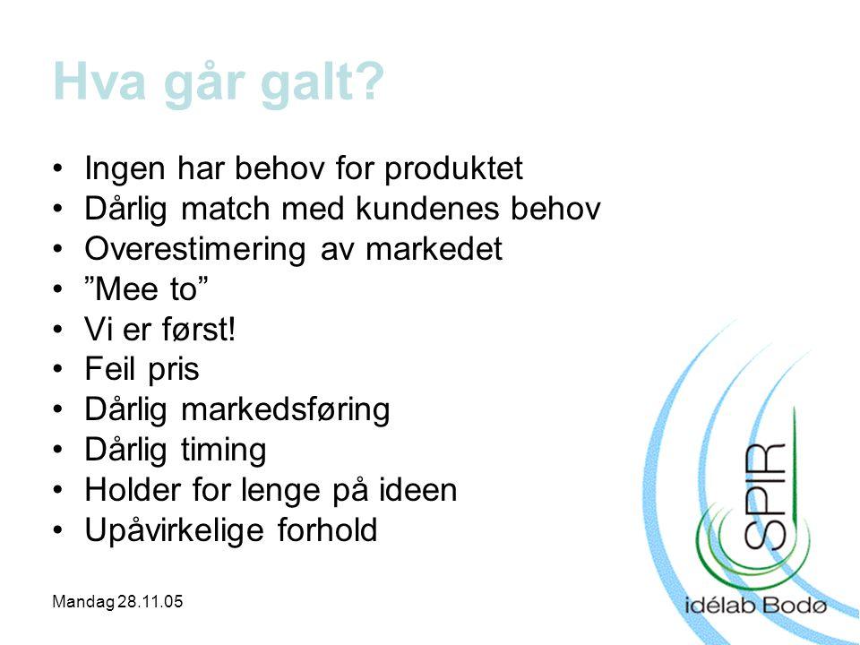 """Mandag 28.11.05 •Ingen har behov for produktet •Dårlig match med kundenes behov •Overestimering av markedet •""""Mee to"""" •Vi er først! •Feil pris •Dårlig"""