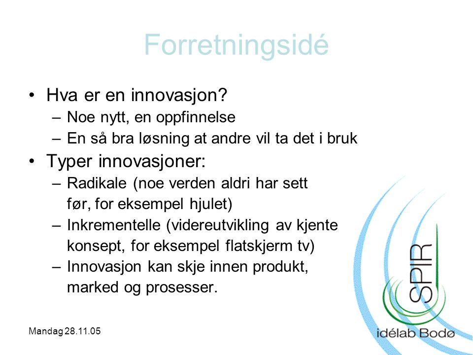 Mandag 28.11.05 Forretningsidé •Hva er en innovasjon? –Noe nytt, en oppfinnelse –En så bra løsning at andre vil ta det i bruk •Typer innovasjoner: –Ra