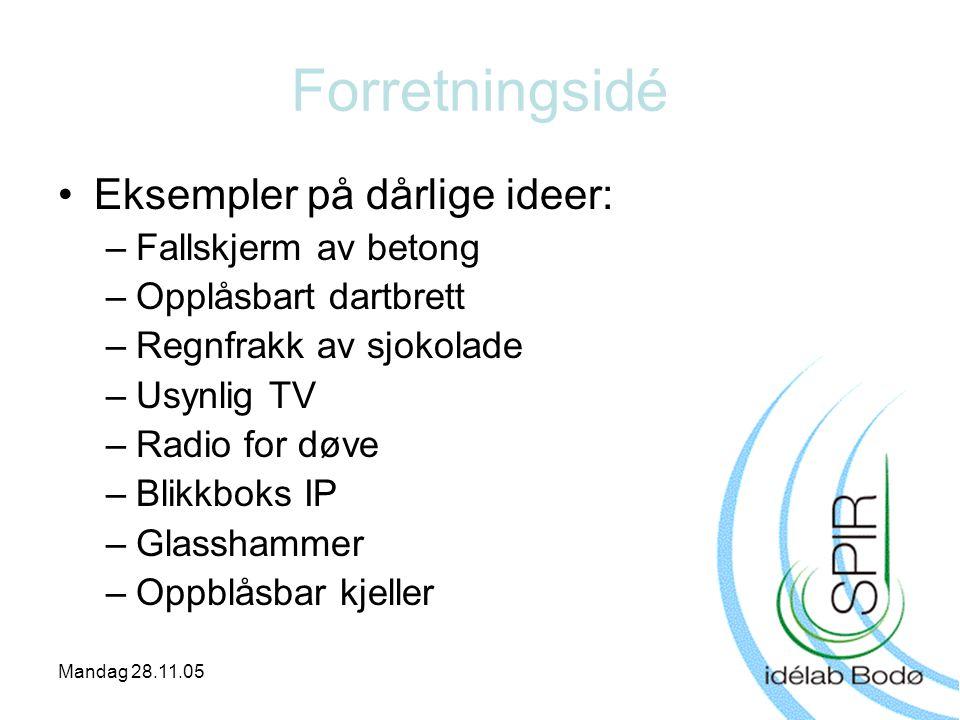 Mandag 28.11.05 Forretningsidé •Eksempler på dårlige ideer: –Fallskjerm av betong –Opplåsbart dartbrett –Regnfrakk av sjokolade –Usynlig TV –Radio for