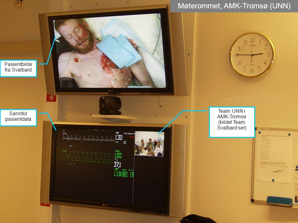 Møterommet, AMK-Tromsø (UNN) Pasientbilde fra Svalbard Sanntid pasientdata Team UNN i AMK-Tromsø (bildet Team Svalbard ser)