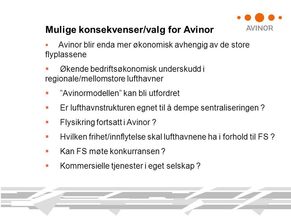 Mulige konsekvenser/valg for Avinor  Avinor blir enda mer økonomisk avhengig av de store flyplassene  Økende bedriftsøkonomisk underskudd i regional