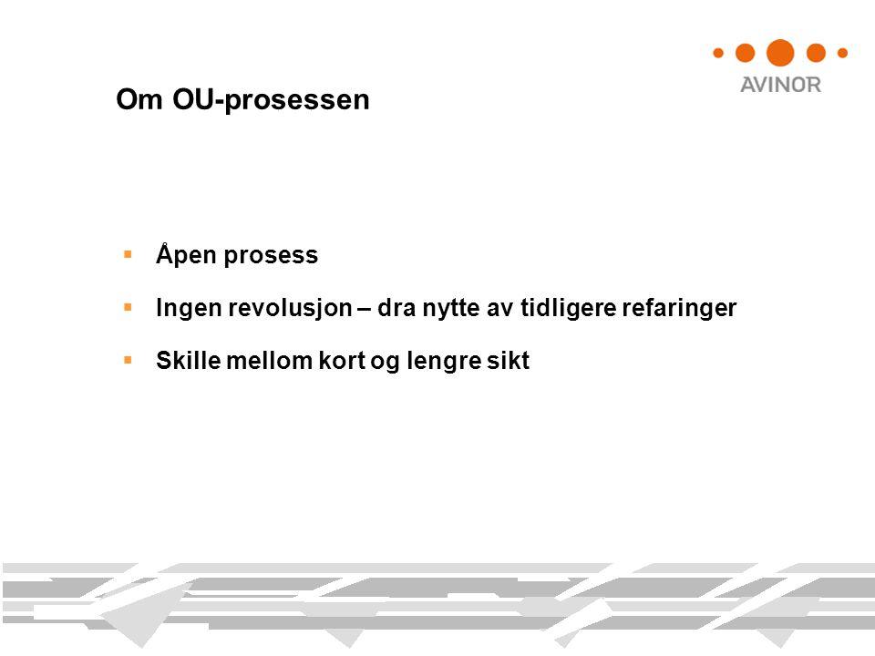  Åpen prosess  Ingen revolusjon – dra nytte av tidligere refaringer  Skille mellom kort og lengre sikt Om OU-prosessen