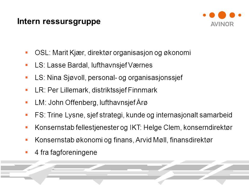 Intern ressursgruppe  OSL: Marit Kjær, direktør organisasjon og økonomi  LS: Lasse Bardal, lufthavnsjef Værnes  LS: Nina Sjøvoll, personal- og orga
