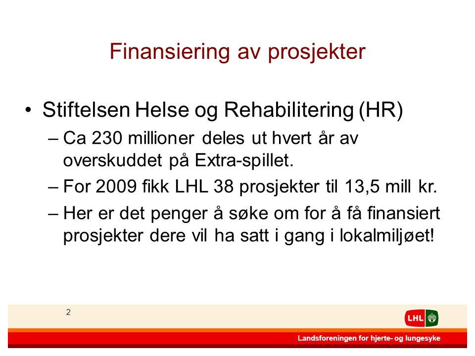 22 Landsforeningen for hjerte- og lungesyke 2 Finansiering av prosjekter •Stiftelsen Helse og Rehabilitering (HR) –Ca 230 millioner deles ut hvert år av overskuddet på Extra-spillet.