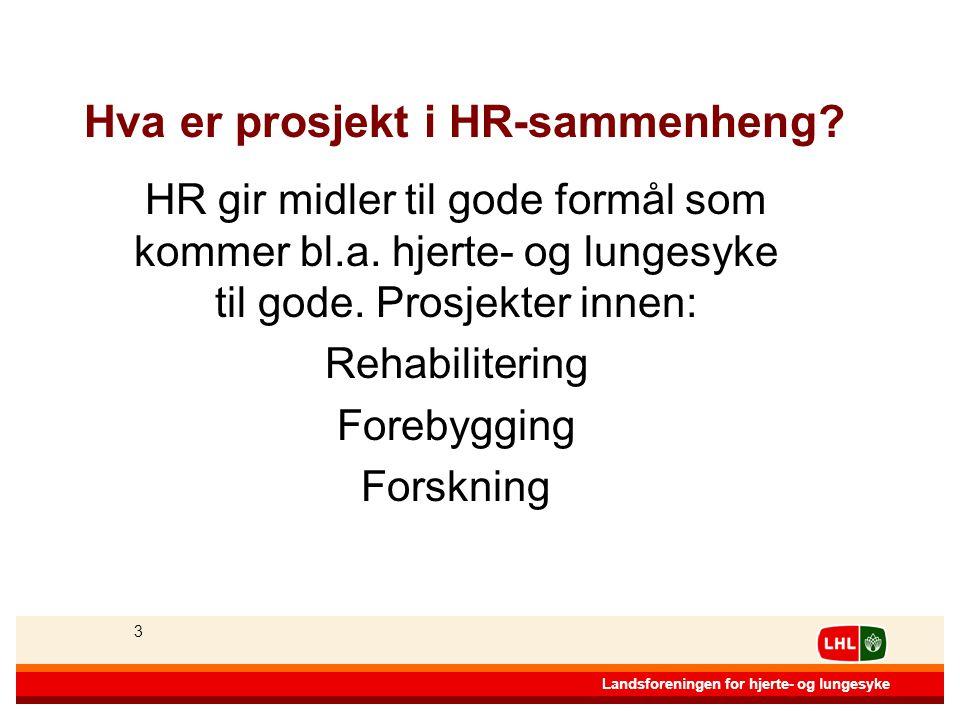 33 Landsforeningen for hjerte- og lungesyke 3 Hva er prosjekt i HR-sammenheng.