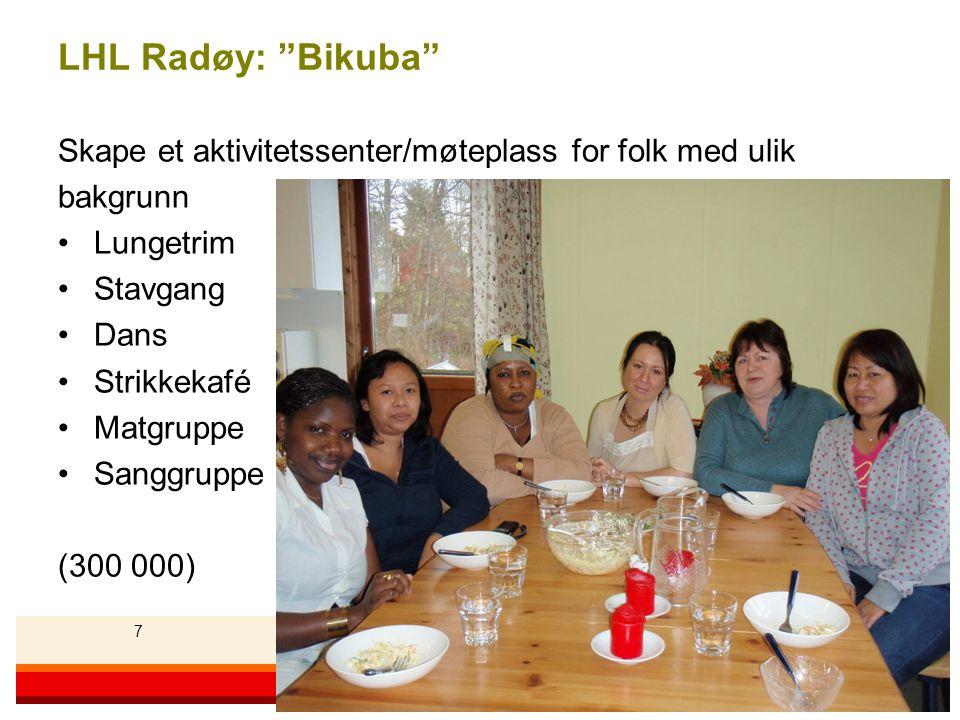 77 Landsforeningen for hjerte- og lungesyke 7 LHL Radøy: Bikuba Skape et aktivitetssenter/møteplass for folk med ulik bakgrunn •Lungetrim •Stavgang •Dans •Strikkekafé •Matgruppe •Sanggruppe (300 000)