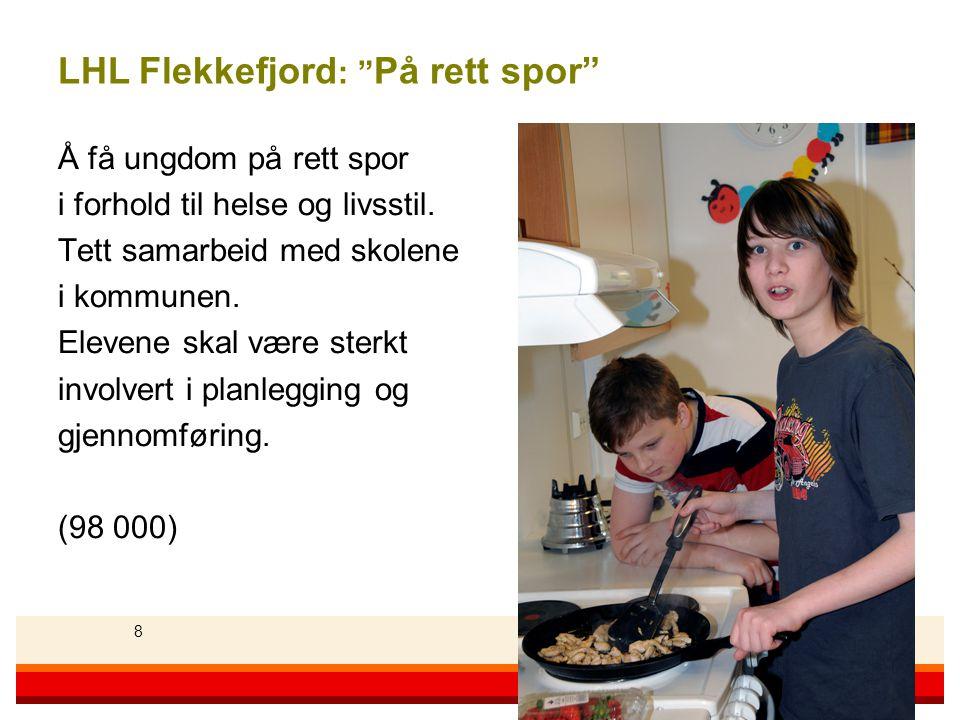 88 Landsforeningen for hjerte- og lungesyke 8 LHL Flekkefjord : På rett spor Å få ungdom på rett spor i forhold til helse og livsstil.