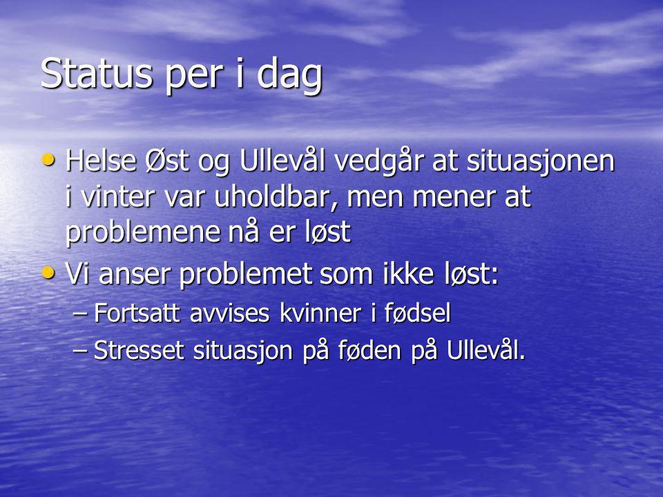 Status per i dag • Helse Øst og Ullevål vedgår at situasjonen i vinter var uholdbar, men mener at problemene nå er løst • Vi anser problemet som ikke