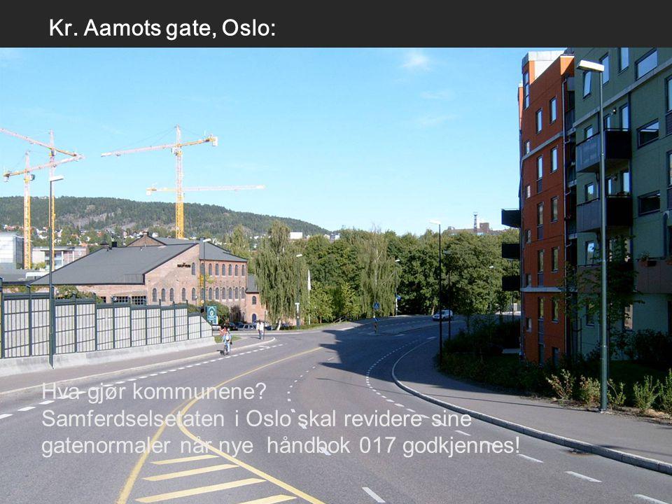 Kr. Aamots gate, Oslo: Hva gjør kommunene? Samferdselsetaten i Oslo skal revidere sine gatenormaler når nye håndbok 017 godkjennes!