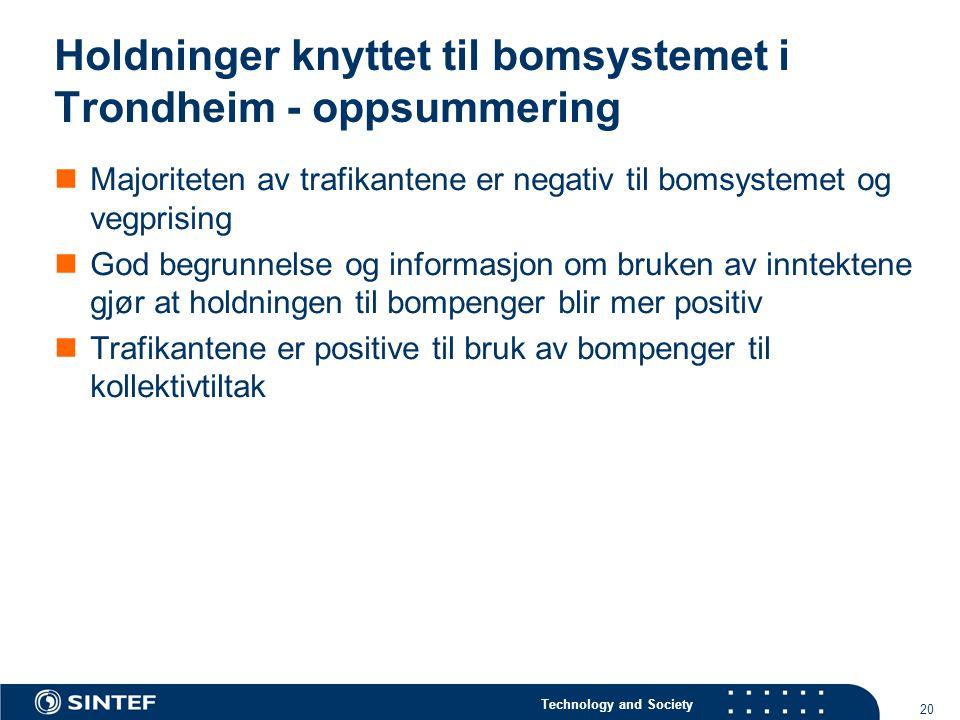 Technology and Society 20 Holdninger knyttet til bomsystemet i Trondheim - oppsummering  Majoriteten av trafikantene er negativ til bomsystemet og vegprising  God begrunnelse og informasjon om bruken av inntektene gjør at holdningen til bompenger blir mer positiv  Trafikantene er positive til bruk av bompenger til kollektivtiltak