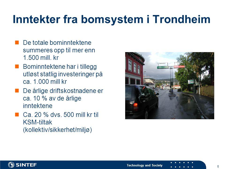 Technology and Society 8 Inntekter fra bomsystem i Trondheim  De totale bominntektene summeres opp til mer enn 1.500 mill.
