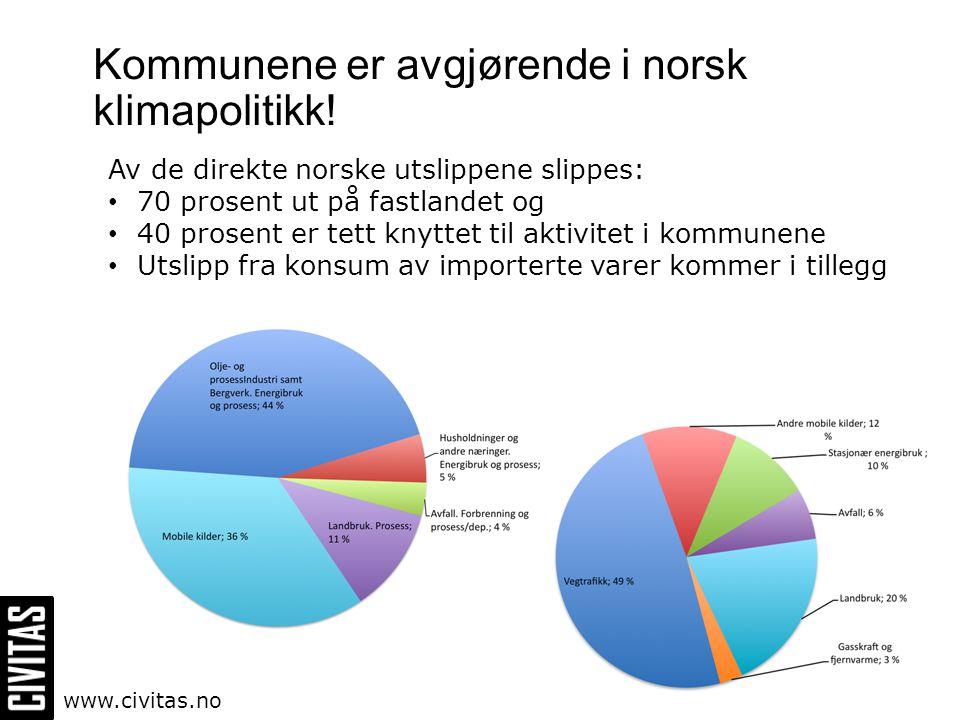 Kommunene er avgjørende i norsk klimapolitikk! Av de direkte norske utslippene slippes: • 70 prosent ut på fastlandet og • 40 prosent er tett knyttet