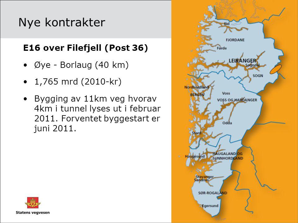 Nye kontrakter E16 over Filefjell (Post 36) •Øye - Borlaug (40 km) •1,765 mrd (2010-kr) •Bygging av 11km veg hvorav 4km i tunnel lyses ut i februar 20