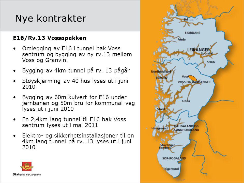 Nye kontrakter E16/Rv.13 Vossapakken •Omlegging av E16 i tunnel bak Voss sentrum og bygging av ny rv.13 mellom Voss og Granvin. •Bygging av 4km tunnel
