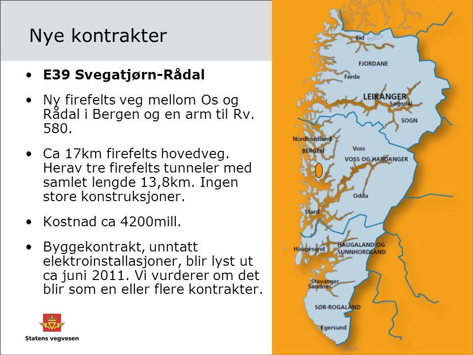 Nye kontrakter •E39 Svegatjørn-Rådal •Ny firefelts veg mellom Os og Rådal i Bergen og en arm til Rv. 580. •Ca 17km firefelts hovedveg. Herav tre firef