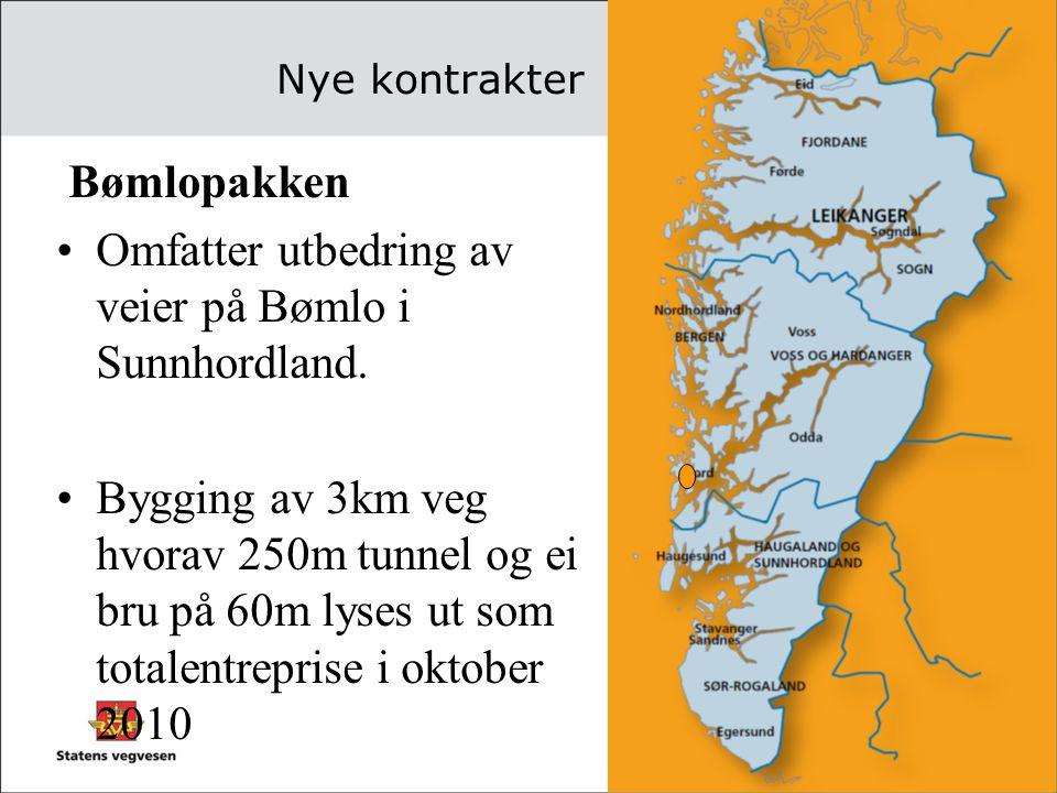 Nye kontrakter Bømlopakken •Omfatter utbedring av veier på Bømlo i Sunnhordland. •Bygging av 3km veg hvorav 250m tunnel og ei bru på 60m lyses ut som