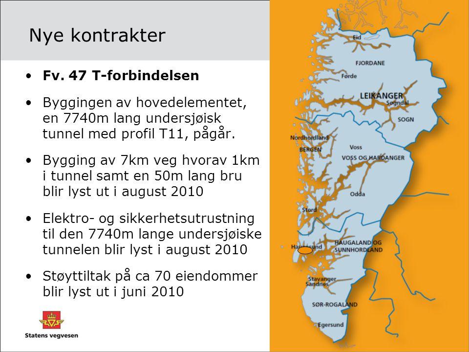 Nye kontrakter •Fv. 47 T-forbindelsen •Byggingen av hovedelementet, en 7740m lang undersjøisk tunnel med profil T11, pågår. •Bygging av 7km veg hvorav