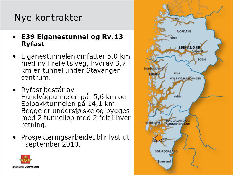 Nye kontrakter •E39 Eiganestunnel og Rv.13 Ryfast •Eiganestunnelen omfatter 5,0 km med ny firefelts veg, hvorav 3,7 km er tunnel under Stavanger sentr