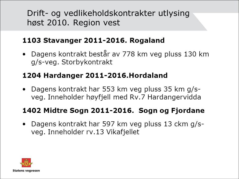Drift- og vedlikeholdskontrakter utlysing høst 2010. Region vest 1103 Stavanger 2011-2016. Rogaland •Dagens kontrakt består av 778 km veg pluss 130 km