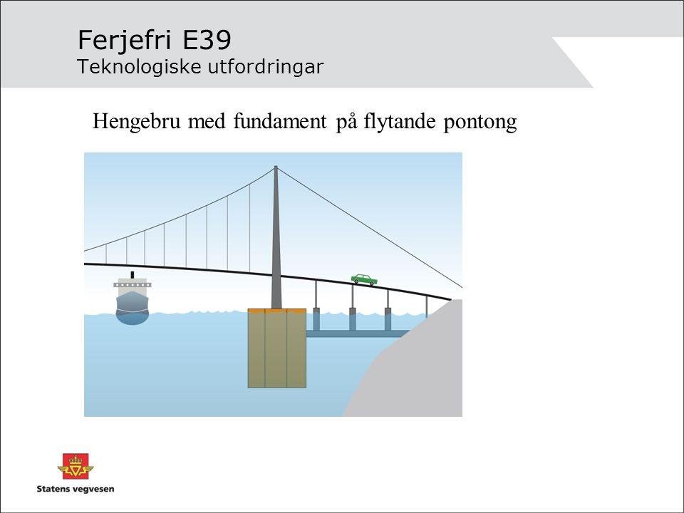 Ferjefri E39 Teknologiske utfordringar Hengebru med fundament på flytande pontong