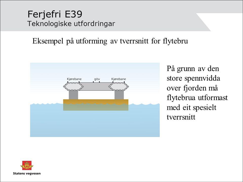 Ferjefri E39 Teknologiske utfordringar Eksempel på utforming av tverrsnitt for flytebru På grunn av den store spennvidda over fjorden må flytebrua utf