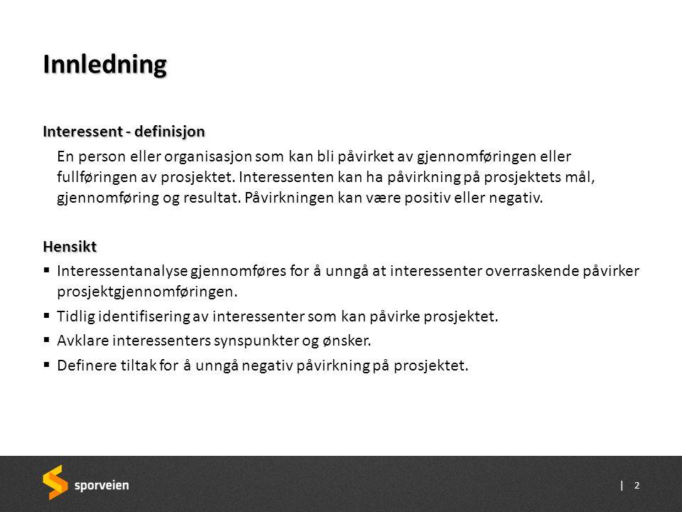| Gjennomføring Hovedtrinn i analysen 1.Plan og underlag for interessentanalyse 2.Identifisering av prosjektinteressenter  Brainstorming 3.Analyse av prosjektinteressenter  Analyse  Vurdere •interesse (pos/ neg) •innvirkning (stor/ liten)  Foreslå tiltak for ivaretakelse av interessenter 4.Utarbeidelse av tiltak og kommunikasjonsplan 5.Håndtering av prosjektinteressenter 3