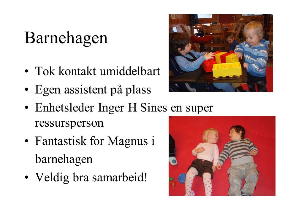 Barnehagen •Tok kontakt umiddelbart •Egen assistent på plass •Enhetsleder Inger H Sines en super ressursperson •Fantastisk for Magnus i barnehagen •Veldig bra samarbeid!