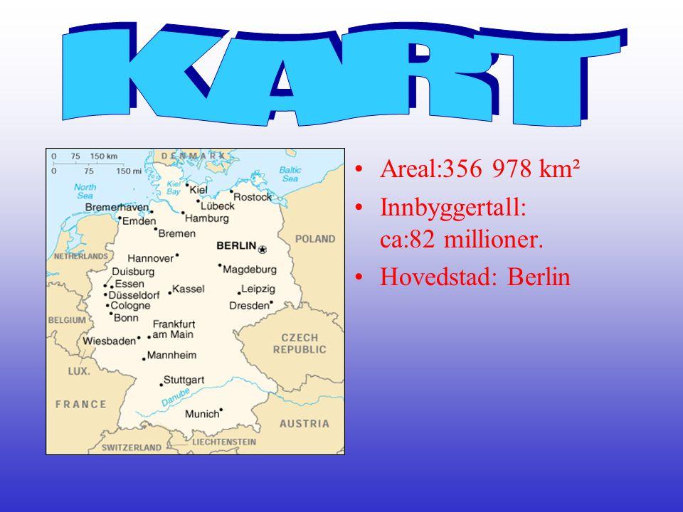 •Areal:356 978 km² •Innbyggertall: ca:82 millioner. •Hovedstad: Berlin