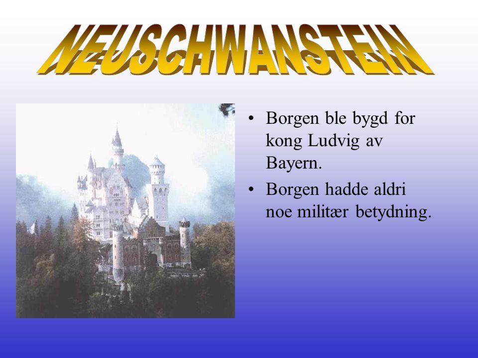 •Borgen ble bygd for kong Ludvig av Bayern. •Borgen hadde aldri noe militær betydning.
