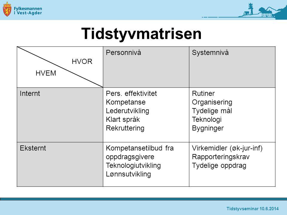 Tidstyvmatrisen PersonnivåSystemnivå InterntPers.