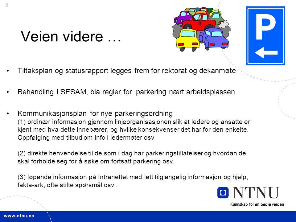 6 Veien videre … •Tiltaksplan og statusrapport legges frem for rektorat og dekanmøte •Behandling i SESAM, bla regler for parkering nært arbeidsplassen.