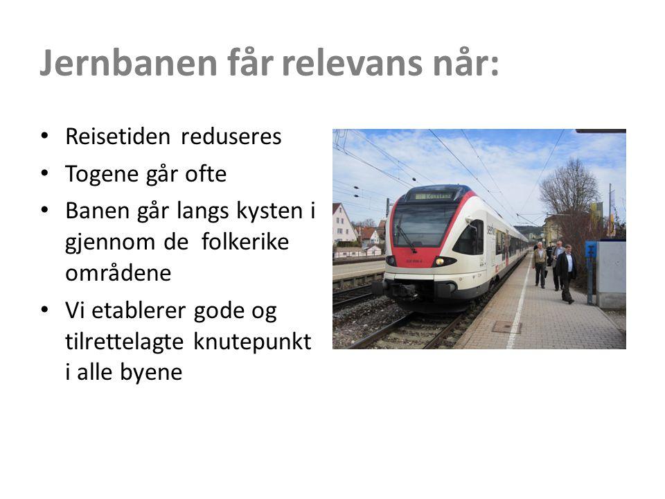 Jernbanen får relevans når: • Reisetiden reduseres • Togene går ofte • Banen går langs kysten i gjennom de folkerike områdene • Vi etablerer gode og tilrettelagte knutepunkt i alle byene