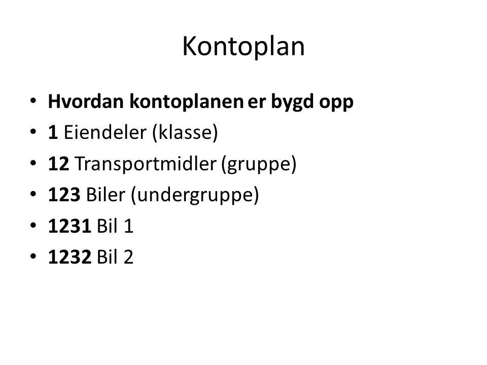 Kontoplan • Hvordan kontoplanen er bygd opp • 1 Eiendeler (klasse) • 12 Transportmidler (gruppe) • 123 Biler (undergruppe) • 1231 Bil 1 • 1232 Bil 2