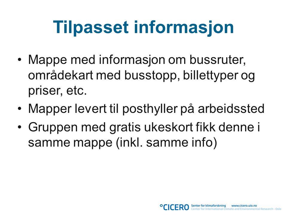 Tilpasset informasjon •Mappe med informasjon om bussruter, områdekart med busstopp, billettyper og priser, etc. •Mapper levert til posthyller på arbei