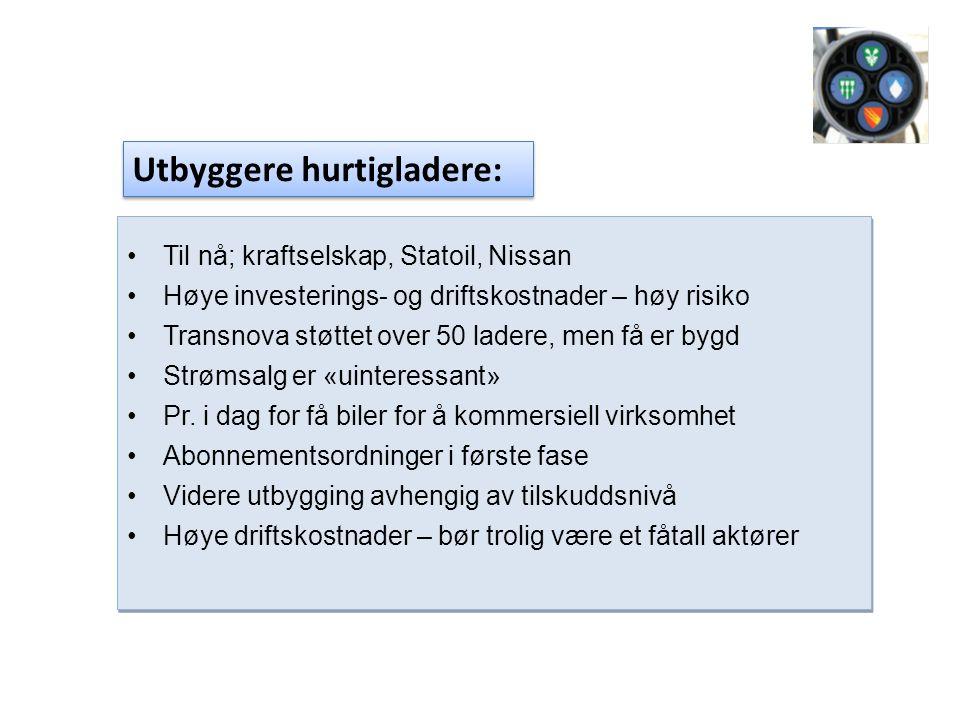 •Til nå; kraftselskap, Statoil, Nissan •Høye investerings- og driftskostnader – høy risiko •Transnova støttet over 50 ladere, men få er bygd •Strømsalg er «uinteressant» •Pr.