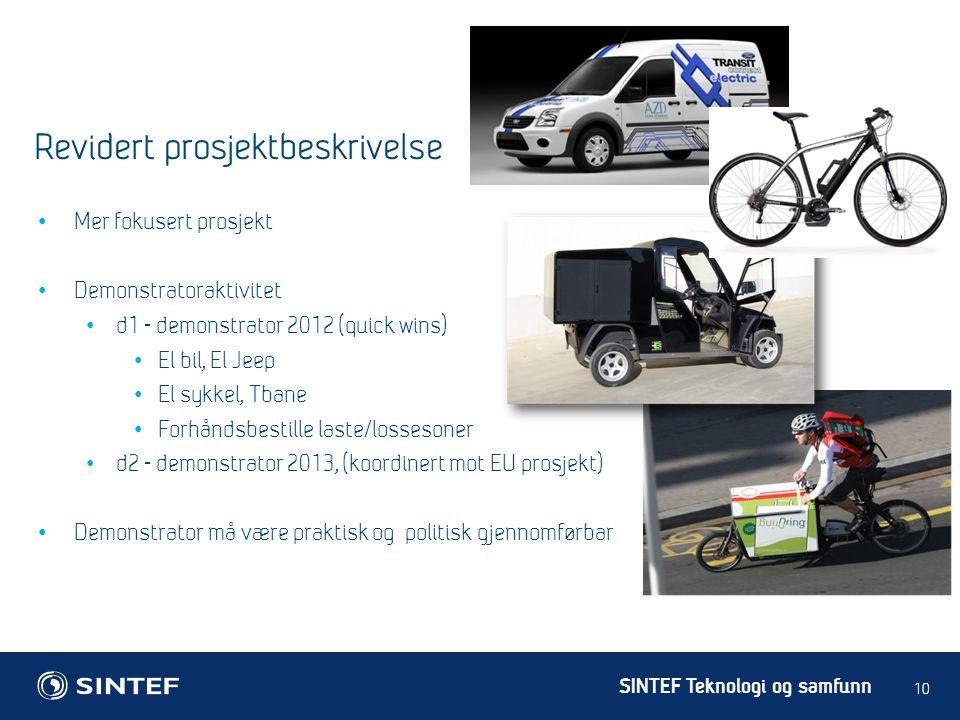 SINTEF Teknologi og samfunn • Mer fokusert prosjekt • Demonstratoraktivitet • d1 - demonstrator 2012 (quick wins) • El bil, El Jeep • El sykkel, Tbane