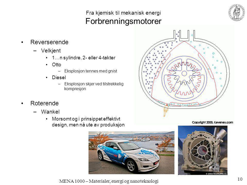 MENA 1000 – Materialer, energi og nanoteknologi Fra kjemisk til mekanisk energi Forbrenningsmotorer •Reverserende –Velkjent •1…n sylindre, 2- eller 4-