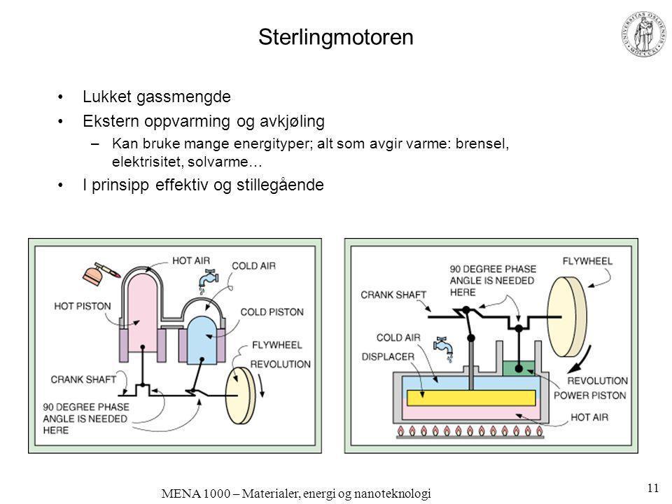 MENA 1000 – Materialer, energi og nanoteknologi Sterlingmotoren •Lukket gassmengde •Ekstern oppvarming og avkjøling –Kan bruke mange energityper; alt