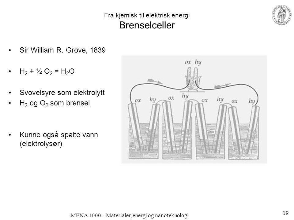 MENA 1000 – Materialer, energi og nanoteknologi Fra kjemisk til elektrisk energi Brenselceller •Sir William R. Grove, 1839 •H 2 + ½ O 2 = H 2 O •Svove