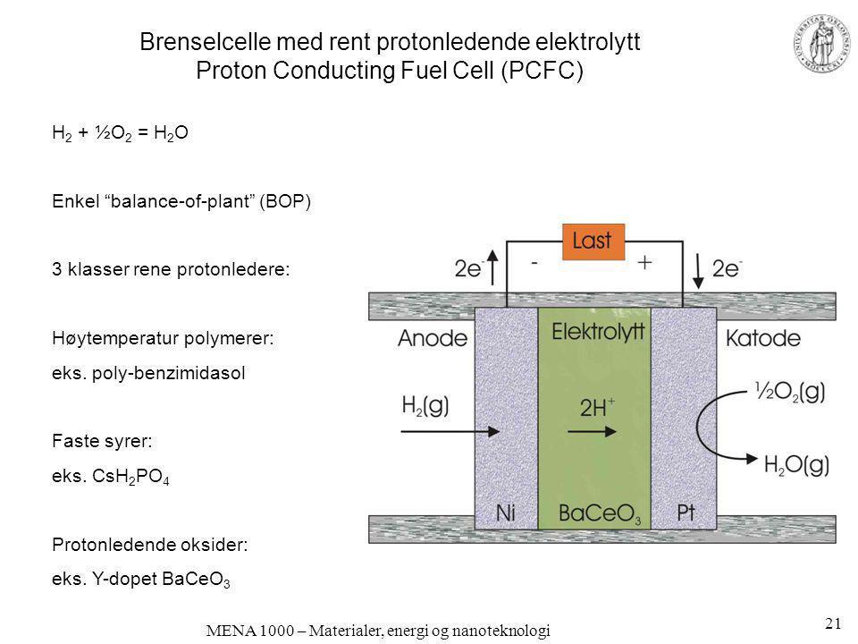 MENA 1000 – Materialer, energi og nanoteknologi Brenselcelle med rent protonledende elektrolytt Proton Conducting Fuel Cell (PCFC) H 2 + ½O 2 = H 2 O
