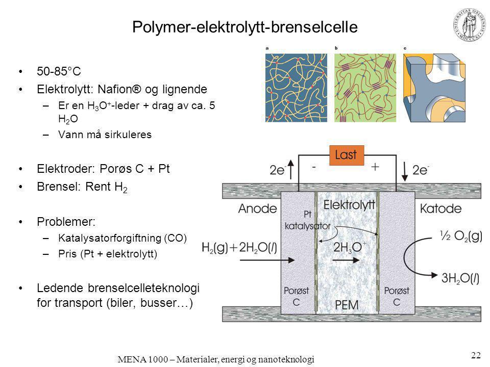 MENA 1000 – Materialer, energi og nanoteknologi Polymer-elektrolytt-brenselcelle •50-85°C •Elektrolytt: Nafion® og lignende –Er en H 3 O + -leder + dr