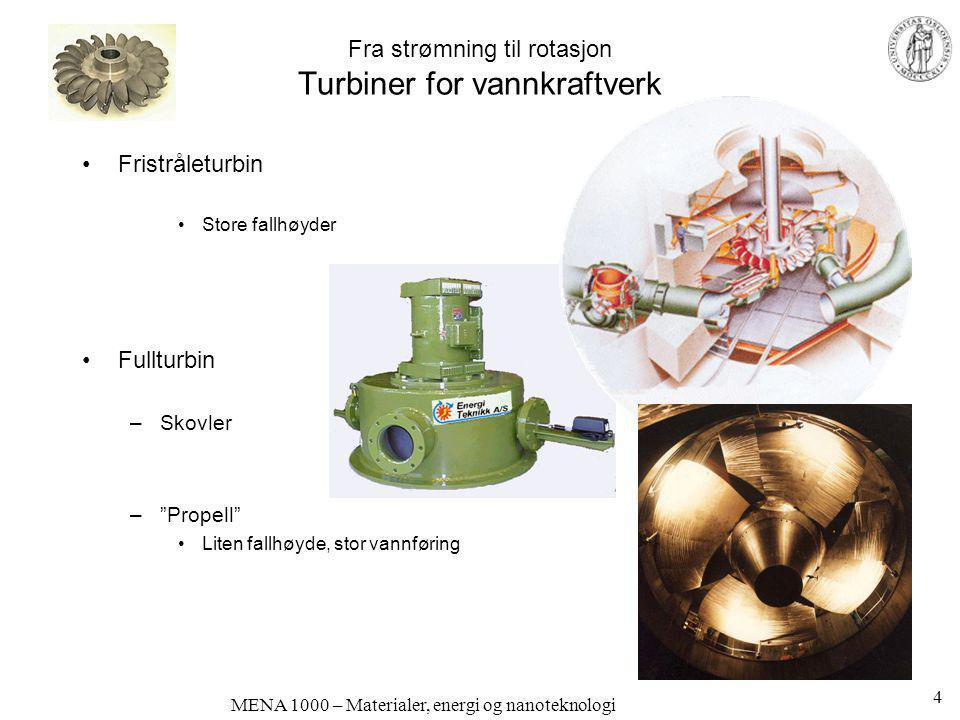 MENA 1000 – Materialer, energi og nanoteknologi Fra strømning til rotasjon Turbiner for vannkraftverk •Fristråleturbin •Store fallhøyder •Fullturbin –