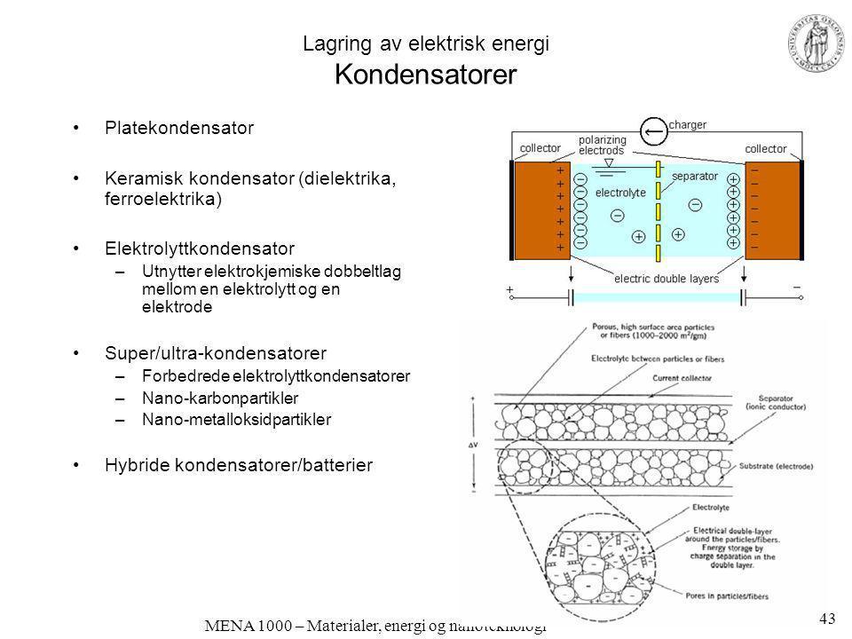 MENA 1000 – Materialer, energi og nanoteknologi Lagring av elektrisk energi Kondensatorer •Platekondensator •Keramisk kondensator (dielektrika, ferroe
