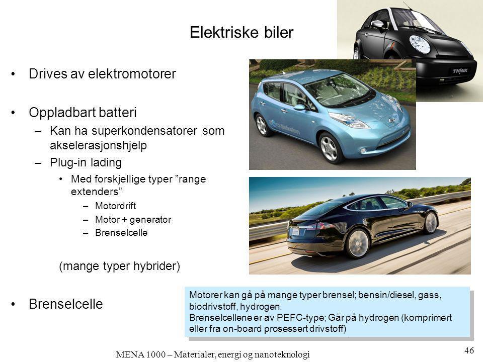 MENA 1000 – Materialer, energi og nanoteknologi Elektriske biler •Drives av elektromotorer •Oppladbart batteri –Kan ha superkondensatorer som akselera