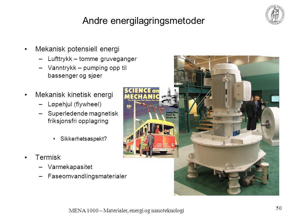 MENA 1000 – Materialer, energi og nanoteknologi Andre energilagringsmetoder •Mekanisk potensiell energi –Lufttrykk – tomme gruveganger –Vanntrykk – pu