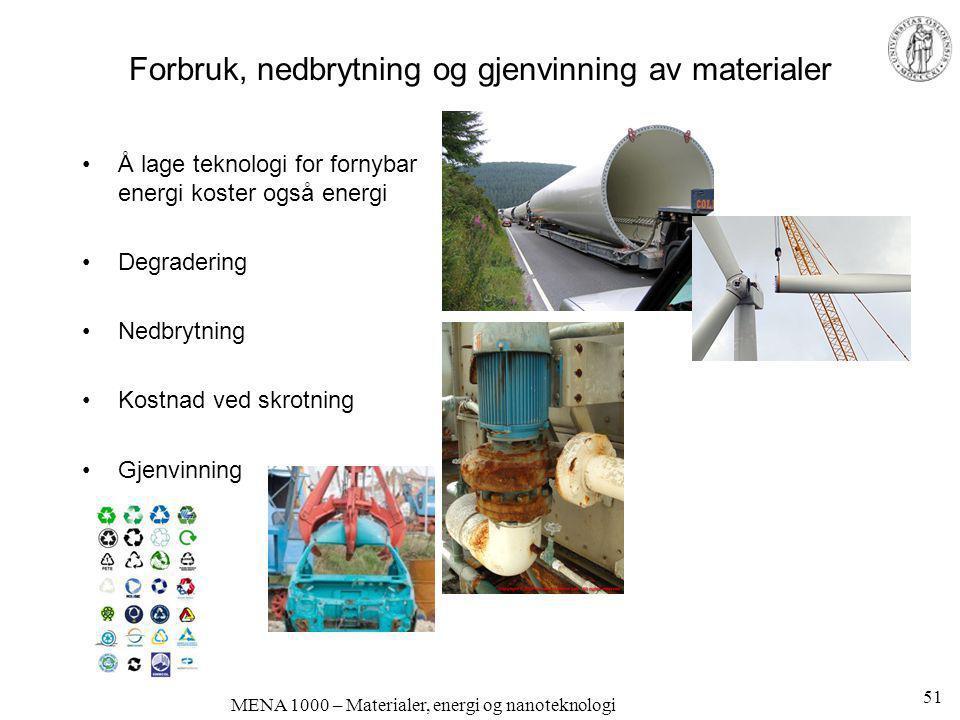 MENA 1000 – Materialer, energi og nanoteknologi Forbruk, nedbrytning og gjenvinning av materialer •Å lage teknologi for fornybar energi koster også en