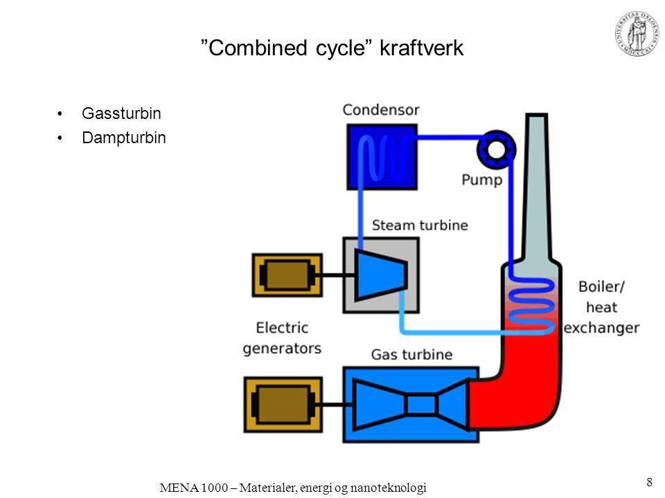 """""""Combined cycle"""" kraftverk •Gassturbin •Dampturbin 8"""