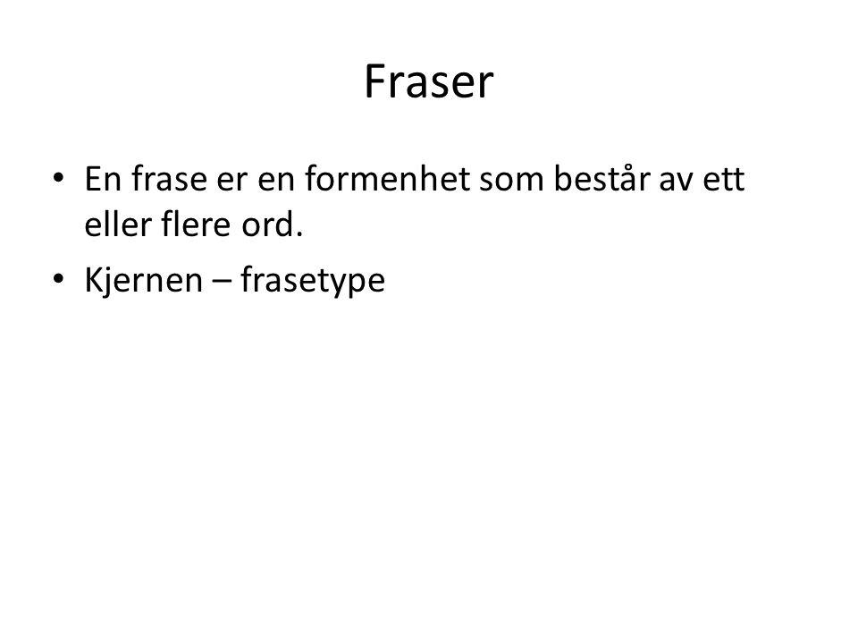 Fraser • En frase er en formenhet som består av ett eller flere ord. • Kjernen – frasetype