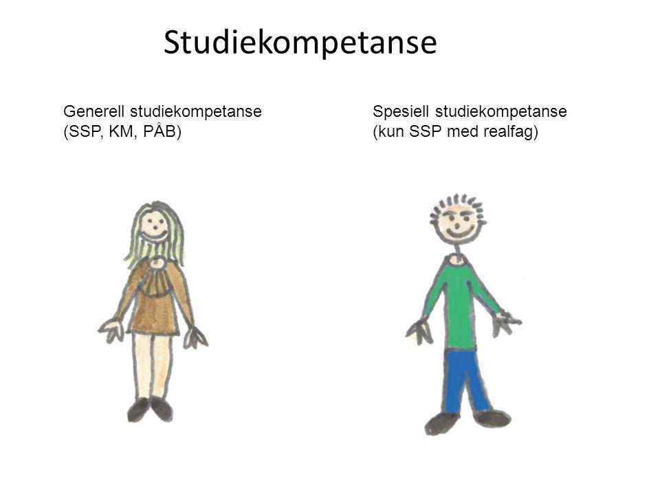 Studiekompetanse Spesiell studiekompetanse (kun SSP med realfag) Generell studiekompetanse (SSP, KM, PÅB)