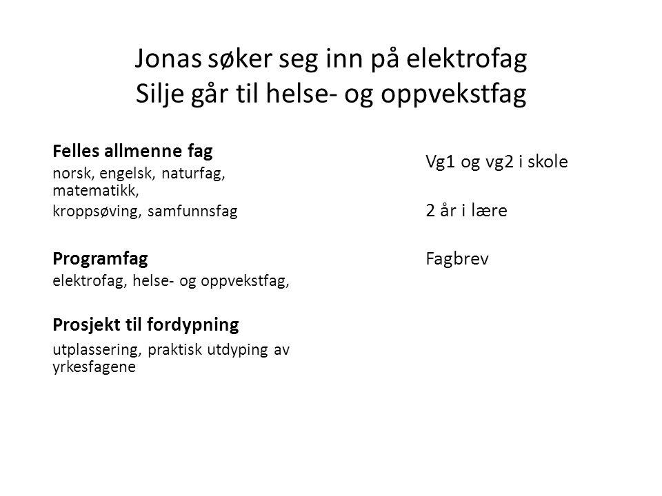 Jonas søker seg inn på elektrofag Silje går til helse- og oppvekstfag Felles allmenne fag norsk, engelsk, naturfag, matematikk, kroppsøving, samfunnsfag Programfag elektrofag, helse- og oppvekstfag, Prosjekt til fordypning utplassering, praktisk utdyping av yrkesfagene Vg1 og vg2 i skole 2 år i lære Fagbrev